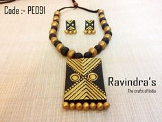 Gold and black terracotta rectangle necklace set  Visit the link for further details :- https://www.facebook.com/photo.php?fbid=223804327777397=a.223804297777400.1073741828.223796264444870=1
