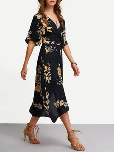 Surplice Front Florals Wrap Dress -SheIn(Sheinside)