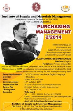 Course in Purchasing Management (English) 2/2014 Commencing Date : 19th  October  2014 Closing Date             : 15th  October  2014