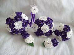 Cadbury Purple & White bridal rose wedding flower Bouquet Package. **6 Items**   eBay