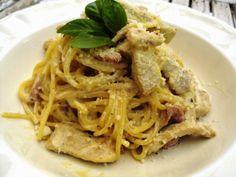Ponto de Rebuçado Receitas: Esparguete com tiras de peru e bacon em molho de natas