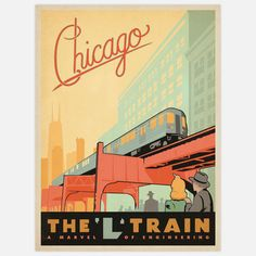 Vintage Travel Poster  Chicago L Train  by Art & Soul Of America
