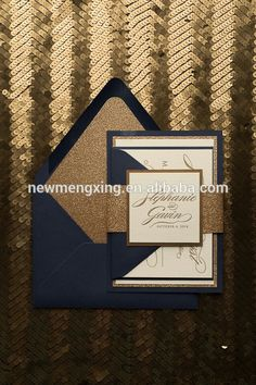 Gold foil and glitter with navy envelopes. Simple and elegant