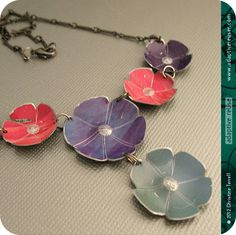 Flowers From Flowers -- Upcycled Tin Necklace by Christine Terrell of adaptive reuse via Etsy.