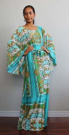 Funky Maxi Dress  Long Wide Sleeve Graphic Tube Gown  by Nuichan, $58.00