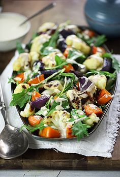 Roast vegetable salad with tahini-lemon dressing
