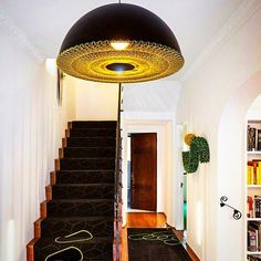 Hivemindesign's pendant fixture hangs above the entry at the Los Feliz House in Los Angeles. #tbt #design #interiordesign #interiordesignmag... - Interior Design Ideas, Interior Decor and Designs, Home Design Inspiration, Room Design Ideas, Interior Decorating, Furniture And Accessories