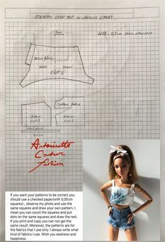 Sewing Barbie Clothes, Barbie Sewing Patterns, Doll Dress Patterns, Clothing Patterns, Diy Clothes, Poupées Our Generation, Made To Move Barbie, Crochet Doll Dress, Barbie Dress
