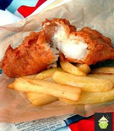 British Beer Battered Fish & Chips With Flour, Vegetable Oil, Fish, All-purpose Flour, Baking Powder, Milk, Olive Oil, Water, Salt, Lager, Beer, Potatoes, Potatoes