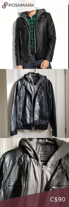 Guess Faux leather hooded moto jacket 100% Polyurethane Zipper closure Chest and side pockets with zipper closure  Get the layered look in one easy step with this faux-leather jacket. The front placket and hood add extra warmth and style to the casual design.  Excellent condition.  Worn only once. Guess Jackets & Coats Camo Denim Jacket, Brown Leather Jacket Men, Faux Leather Jackets, Moto Jacket, Green Parka, Black Down, Spring Jackets, Denim Fashion, Black Denim