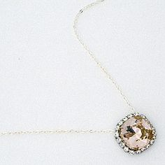 Haute Bride Jewelry for Brides and Bridesmaids.  Vintage Rose cushion cut crystal pendant, fabulous wedding pendant, bridesmaid necklace.  Find it, at Perfect Details.