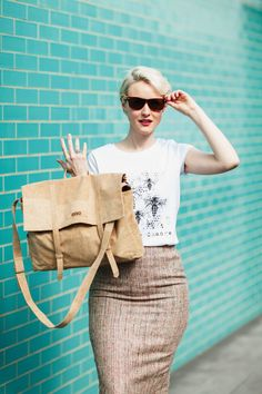 Kate Arnell wearing Deborah Campbell Atelier organic cotton Bee The Change t-shirt.