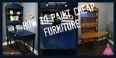 Cheap corner desk with hutch transformed into a stunning piece of furniture. Using Shabby paints Marine Blue and black reVAX. Cheap Corner Desk, Corner Desk With Hutch, Desk Hutch, Marine Blue, Navy Blue, Diy Painting, Shabby, Tips, Furniture