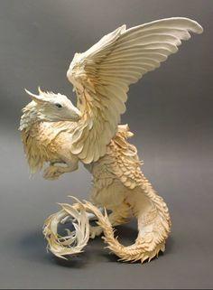 Clay Sculpture of a White Dragon by Ellen Jewett