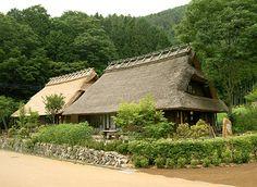 Iyashi No Sato Nenba, Lake Saiko, Yamanashi, Japan. Thatched roof. Kayabuki, 茅葺.