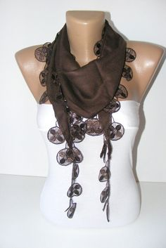 chocolatebrown pashmina fabric scarf with lacewomen by scarvesCHIC, $15.00
