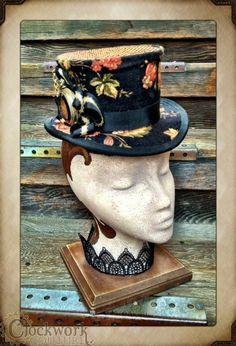 The Clockwork Carriage Hat - Black Floral - $159.95