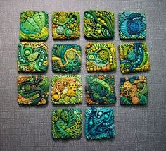 Chris Kapono's PC work is simply droolworthy! Textured Polymer Clay Inchies by MandarinMoon.deviantart.com on @deviantART