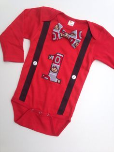 OSU Birthday Outfit, Buckeye Bowtie and Suspenders, Buckeye Birthday Outfit, Ohio State Bowtie Bodysuit by SweetTootsy on Etsy https://www.etsy.com/listing/203758015/osu-birthday-outfit-buckeye-bowtie-and