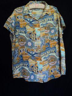 Vintage 80's BILL BLASS Size Large Money Bank Coins Bills Silky Blouse Shirt Top #BillBlass #Blouse #Casual
