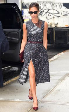 Victoria Beckham blue patterned dress with folded neckline and sheer panel detail + burgundy accessories