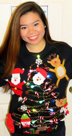 Looking for ugly Christmas sweater ideas? Love or hate 'em, it's hard to escape ugly sweater parties. Check out these DIY ideas, make your own, get a laugh! Best Ugly Christmas Sweater, Cute Christmas Tree, Xmas Sweaters, Christmas Ideas, Christmas Stuff, Holiday Ideas, Christmas Shirts, Christmas Crafts, Christmas 2019