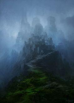 Mountain Citadel by Andreas Rocha Fantasy Art Watch Fantasy City, Fantasy Castle, Fantasy Places, Fantasy Kunst, High Fantasy, Fantasy World, Castle Illustration, Digital Illustration, Fantasy Illustration