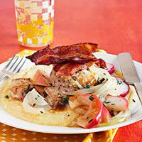 chicken thighs with onions, apples and polenta