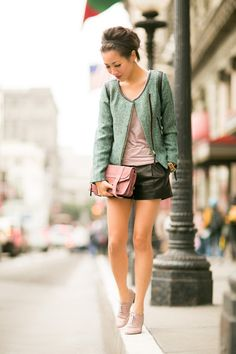 Minty Weekend :: Tweed jacket - love the color combinations, but again shorts not for me.  The Jacket is great for casual wear.