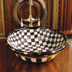 MacKenzie-Childs - Large Vessel Sink - Courtly Check