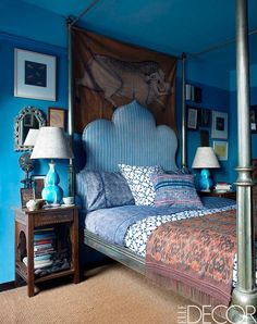 John Robshaw's Bedroom   from December issue of Elle Decor.  Love the headboard, side tables + textiles. #JohnRobshaw