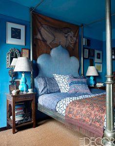 John Robshaw's Bedroom   from December issue of Elle Decor.  Love the headboard, side tables + textiles. #JohnRobshaw