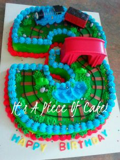 Thomas the Tank #3 cake, buttercream icing - by itsapieceofcake @ CakesDecor.com - cake decorating website