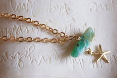 Tiny Ocean 14k gold bracelet Semiprecious chunk by TheEcoPrincess, $35.00