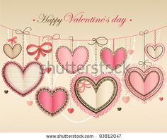 stock vector : Valentine`s Day vintage card with lacy paper hearts and place for text.