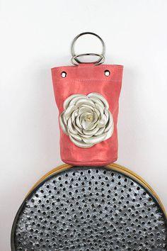 5d162c08f8fb Metallic Ring Handle Bag Small Coral Leather Handbag Coral Wristlet Bag Ring  Bag with Handmade Rose Mini Bucket Handbag – MiniSophiaEL4