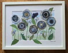 Mixed media/textile art By Christine Pettet Art www.christinepettetart.bigcartel.com Free Motion Embroidery, Embroidery Applique, Flower Quilts, Fabric Flowers, Fabric Cards, Landscape Quilts, Sewing Appliques, Button Crafts, Textile Art