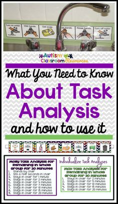 What You Need to Know About Task Analysis and Why You Should Use It I use task analyses all the time to teach students with autism and other special education classrooms. Here are some things you need to know to make it more effective and why I love it. Task Analysis, Applied Behavior Analysis, Life Skills Classroom, Autism Classroom, Behavioral Analysis, Teaching Special Education, Kids Education, Coaching, Autism Resources