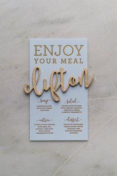 Laser Cut Escort Names, wedding menus, wedding table ideas, foil stamping, boho, rustic