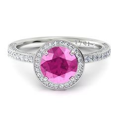 It doesn't have to be a dark colour pink, just a beautiful design to help enhance the diamond. http://www.charleskoll.com/product-category/rings/engagement/