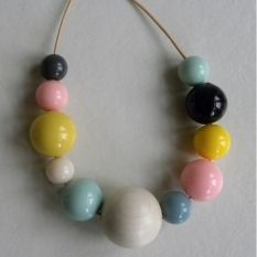 Long beaded necklace ByBjor Candy & Wood mint at MIKKILI