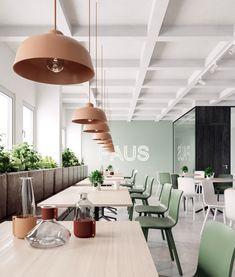 40 Relaxing Green Office Décor Ideas - Home Design Restaurant Interior Design, Commercial Interior Design, Office Interior Design, Luxury Interior Design, Commercial Interiors, Office Interiors, Office Designs, Office Ideas, Modern Interiors
