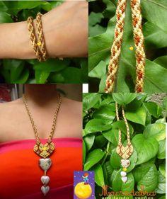Conjunto en kumihimo #pulsera #collar con corazon  #macrame