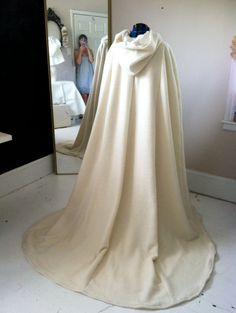 Long Hooded Cape with Train  Brides Fairytale Cape with Train via Etsy