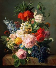 van Dael, Jan Frans - Blumen und Früchte. Still life painting with flowers and fruit.