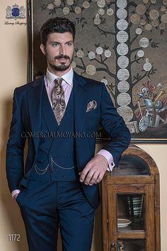 Traje de novio italiano a medida recto 2 botones, en new performance azul media noche, modelo 1172 Ottavio Nuccio Gala colección Gentleman 2015.