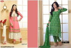 Which one you want to buy ? ANARKALI #SemiStichedSUIT OR Semi Stitched Straight Fit #SalwarSuit!!! Click Here To Buy @ http://www.souqelkhaleej.com/fashion/women.html