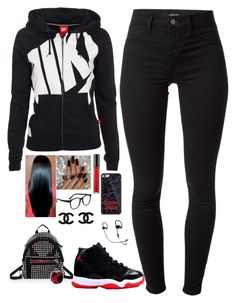 """""""Untitled #306"""" by madeforfashion ❤ liked on Polyvore featuring J Brand, NIKE, Larke, MAC Cosmetics, Fendi, women's clothing, women, female, woman and misses"""