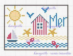 free- atc mer Cross Stitch Sea, Cross Stitch Cushion, Free Cross Stitch Charts, Cross Stitch Bookmarks, Cross Stitch Borders, Cross Stitching, Cross Stitch Embroidery, Cross Stitch Patterns, Crochet Blanket Edging