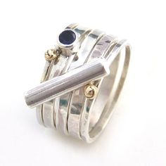 1eaa43a4c Iolite stone and stacking rings Mid Finger Rings, Ring Size Guide, Silver Stacking  Rings